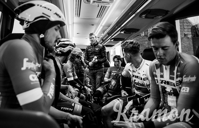 pre-race strategy briefing by DS Dirk Demol on the Trek-Segafredo teambus<br /> <br /> 61th E3 Harelbeke (1.UWT)<br /> Harelbeke - Harelbeke (206km)