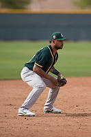 Oakland Athletics third baseman Jesus Lopez (21) during a Minor League Spring Training game against the Chicago Cubs at Sloan Park on March 13, 2018 in Mesa, Arizona. (Zachary Lucy/Four Seam Images)