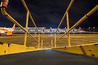 Mit 9 Jahren Verspaetung wurde am 31. Oktober 2020 der Flughafen Berlin-Brandenburg BER in Schoenefeld eroeffnet.<br /> Im Bild: Blick auf das Terminal 1-2 von der Landebahn aus. Im Vordergrund ein Gepaeckfoerderband.<br /> 31.10.2020, Schoenefeld<br /> Copyright: Christian-Ditsch.de