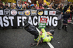 © Joel Goodman - 07973 332324 . 12/11/2016 . Manchester , UK . Approximately 2000 people march and rally against Fracking in Manchester City Centre . Photo credit : Joel Goodman