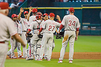The Philadelphia Phillies celebrate clinching a playoff spot after the Major League Baseball game against the Houston Astros at Minute Maid Park in Houston, Texas on September 14, 2011. Philadelphia defeated Houston 1-0.  (Andrew Woolley/Four Seam Images)