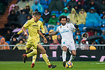 Marcelo Vieira Da Silva (R) of Real Madrid fights for the ball with Rodrigo Hernandez Cascante, Rodri, of Villarreal CF during the La Liga 2017-18 match between Real Madrid and Villarreal CF at Santiago Bernabeu Stadium on January 13 2018 in Madrid, Spain. Photo by Diego Gonzalez / Power Sport Images