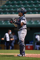 Tampa Tarpons catcher Carlos Narvaez (5) during a game against the Lakeland Flying Tigers on May 16, 2021 at Joker Marchant Stadium in Lakeland, Florida.  (Mike Janes/Four Seam Images)