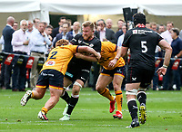 Thursday 9th September 20218 <br /> <br /> Bradley Roberts tackles Jackson Wrey during the pre-season friendly between Saracens and Ulster Rugby at the Honourable Artillery Company Grounds, Armoury House, London, England. Photo by John Dickson/Dicksondigital