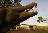 Concrete Crocodile (above) in the center of Wyndham is a desperate attempt to draw tourists.<br /> The Crocodile is the largest of all living reptiles and is found in the Northern Territory. They are believed to grow to as large as 20 feet long. <br /> This hot dusty little town, racked with Ross River Virus (something akin to malaria, but with no cure).<br /> Tourist bureau is in little, run-down gas station.<br /> <br /> They can potentially eat any animal including monkeys, dangaroos, wild boar, dingos, birds, livestock, water buffalo, sharks and even humans.