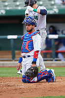 South Bend Cubs catcher Eric Gonzalez (20) during a Midwest League game against the Cedar Rapids Kernels at Four Winds Field on May 8, 2019 in South Bend, Indiana. South Bend defeated Cedar Rapids 2-1. (Zachary Lucy/Four Seam Images)