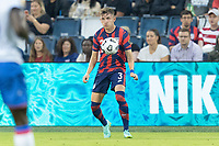 KANSAS CITY, KS - JULY 11: Sam Vines #3 of the United States traps a ball during a game between Haiti and USMNT at Children's Mercy Park on July 11, 2021 in Kansas City, Kansas.