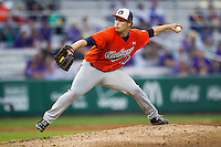 Auburn Tigers pitcher Michael O'Neal #17 delivers a pitch to the plate against the LSU Tigers in the NCAA baseball game on March 23, 2013 at Alex Box Stadium in Baton Rouge, Louisiana. LSU defeated Auburn 5-1. (Andrew Woolley/Four Seam Images).