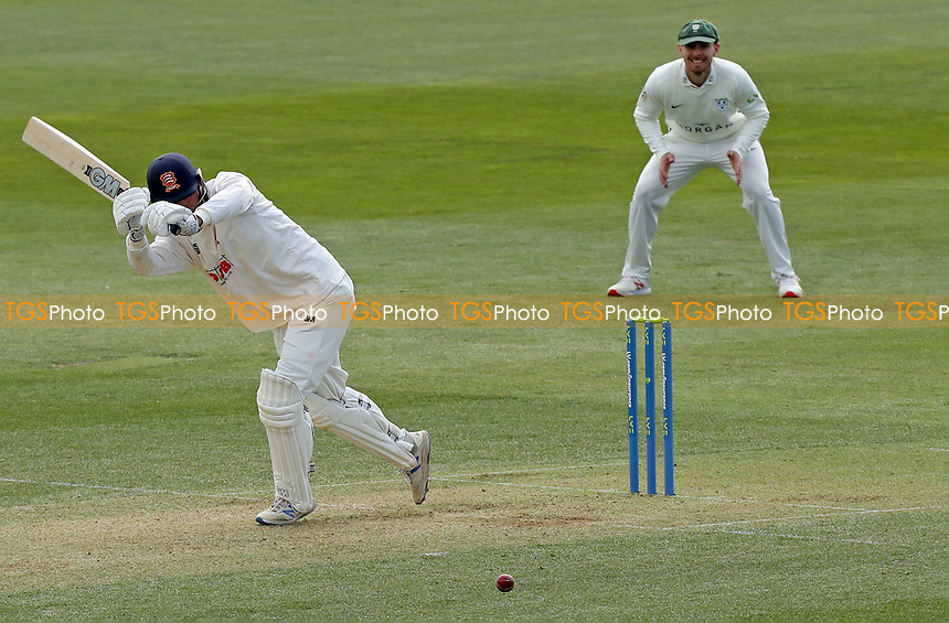 Tom Westley of Essex hits four runs during Essex CCC vs Worcestershire CCC, LV Insurance County Championship Group 1 Cricket at The Cloudfm County Ground on 8th April 2021