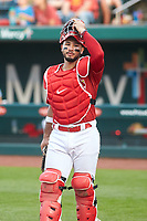 Springfield Cardinals catcher Iván Herrera (11) during a game against the Arkansas Travelers on June 8, 2021 at Hammons Field in Springfield, Missouri.  (Travis Berg/Four Seam Images)