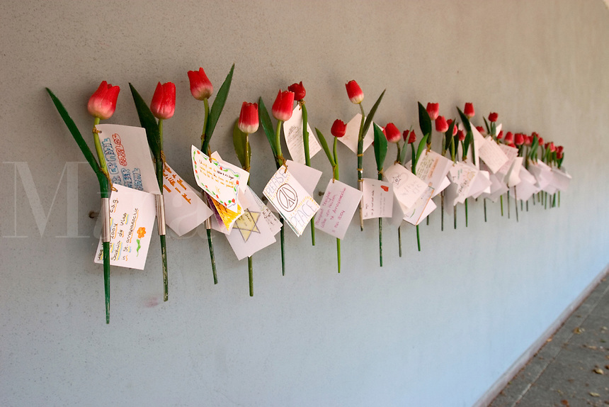 Tulips left on the walls at the Dutch Theatre in Amsterdam. During Worl War 2 this was the main collection point for the Nazis during their occupation of Amsterdam.