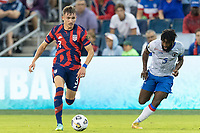 KANSAS CITY, KS - JULY 11: Sam Vines #3 of the United States moves with the ball during a game between Haiti and USMNT at Children's Mercy Park on July 11, 2021 in Kansas City, Kansas.