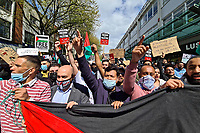 Pictured: Palestinian and local people hold a rally in Swansea, Wales, UK. Sunday 16 May 2021<br /> Re: Palestinian people, joined by local supporters have held a rally against Israel, in the city centre of Swansea, Wales, UK.