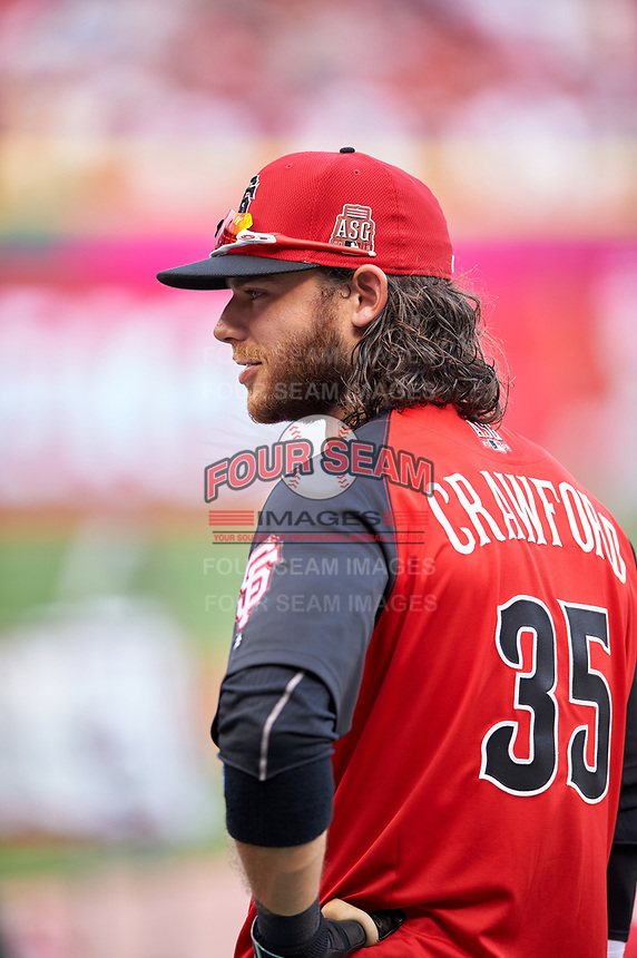 San Francisco Giants Brandon Crawford during practice before the MLB All-Star Game on July 14, 2015 at Great American Ball Park in Cincinnati, Ohio.  (Mike Janes/Four Seam Images)