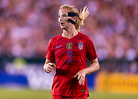 PHILADELPHIA, PA - AUGUST 29: Sam Mewis #3 of the United States looks for the ball during a game between Portugal and the USWNT at Lincoln Financial Field on August 29, 2019 in Philadelphia, PA.