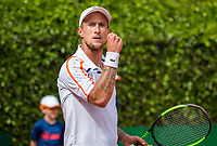 The Hague, Netherlands, 11 June, 2017, Tennis, Play-Offs Competition, Maxime Authom, celebrates, he scores a point for Leimonias<br /> Photo: Henk Koster/tennisimages.com