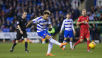 goal scorer Danny Williams of Reading hits a shot at goal during the Sky Bet Championship match between Reading and Blackburn Rovers at the Madejski Stadium, Reading, England on 20 December 2015. Photo by Andy Rowland / PRiME Media Images