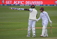 Windies captain Jason Holder celebrates his half century with Joshua Da Silva during day three of the second International Test Cricket match between the New Zealand Black Caps and West Indies at the Basin Reserve in Wellington, New Zealand on Sunday, 13 December 2020. Photo: Dave Lintott / lintottphoto.co.nz