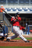 GCL Red Sox first baseman Jerry Downs (30) at bat during the first game of a doubleheader against the GCL Rays on August 4, 2015 at Charlotte Sports Park in Port Charlotte, Florida.  GCL Red Sox defeated the GCL Rays 10-2.  (Mike Janes/Four Seam Images)