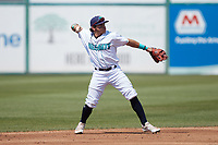 Lynchburg Hillcats second baseman Christian Cairo (12) on defense against the Myrtle Beach Pelicans at Bank of the James Stadium on May 23, 2021 in Lynchburg, Virginia. (Brian Westerholt/Four Seam Images)