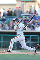 Ben Turner (18) of the San Jose Giants bats during a game against the Lancaster JetHawks at The Hanger on April 11, 2015 in Lancaster, California. San Jose defeated Lancaster, 8-3. (Larry Goren/Four Seam Images)