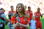 EURO 2016 QUALIFYING: WALES V ISRAEL AT CARDIFF CITY STADIUM : <br /> Welsh singer Sophie Evans ahead of kick off.<br /> <br /> EDITORIAL USE ONLY.