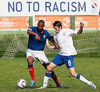 Soccer, UEFA U-17.France Vs. England. Sebastien Haller, left and Nicholas Powell.Indjija, 03.05.2011..foto: Srdjan Stevanovic