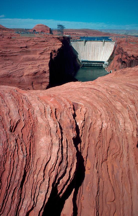 Glen Canyon Dam on the Colorado River. Page, Arizona.