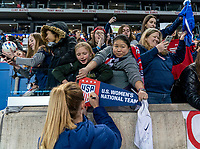 HARRISON, NJ - MARCH 08: Sam Mewis #3 of the United States signs autographs during a game between Spain and USWNT at Red Bull Arena on March 08, 2020 in Harrison, New Jersey.