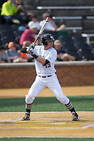 Keegan Maronpot (13) of the Wake Forest Demon Deacons at bat against the Miami Hurricanes at Wake Forest Baseball Park on March 21, 2015 in Winston-Salem, North Carolina.  The Hurricanes defeated the Demon Deacons 12-7.  (Brian Westerholt/Four Seam Images)