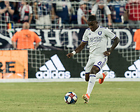 FOXBOROUGH, MA - JULY 28: Sebastian Mendez #8 passes the ball during a game between Orlando City SC and New England Revolution at Gillette Stadium on July 27, 2019 in Foxborough, Massachusetts.