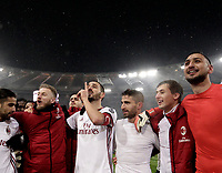 Football Soccer: Tim Cup semi-final second Leg, SS Lazio vs AC Milan, Stadio Olimpico, Rome, Italy, February 28, 2018.<br /> Milan's players celebrate after winning the Tim Cup semi-final football match against SS Lazio at Rome's Olympic stadium, February 28, 2018.<br /> UPDATE IMAGES PRESS/Isabella Bonotto