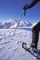 Snowshoeing in the North Cascades, Mt Baker in Background, Washington Cascade Mountains