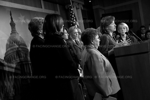 Photographer: Lucian Perkins/Facing Change: Documenting America.Washington,  DC.April 8, 2010..Caption: Senator Kay Hagan, D-NC, and other female Senators address why the House's budget proposal will cut programs important to women.