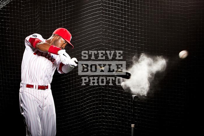 Philadelphia Phillies right fielder Dominic Brown on October 27, 2010 in Philadelphia, Pennsylvania...2010 © Steve Boyle
