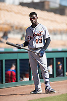Mesa Solar Sox outfielder Daz Cameron (13), of the Detroit Tigers organization, warms up before an Arizona Fall League game against the Glendale Desert Dogs at Camelback Ranch on November 12, 2018 in Glendale, Arizona. Glendale defeated Mesa 4-2. (Zachary Lucy/Four Seam Images)