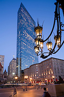 Copley Plaza Hotel and Hancock Tower, from Public library, Copley Square, Boston, MA. With library sconces in foreground.