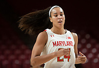 COLLEGE PARK, MD - NOVEMBER 20: Stephanie Jones #24 of Maryland runs up court during a game between George Washington University and University of Maryland at Xfinity Center on November 20, 2019 in College Park, Maryland.