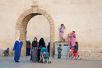 Essaouira, Morocco.  The Younger and Older Generations as Revealed in Veiling and Face-covering, Place Moulay Hassan.
