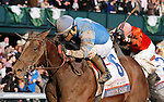 LEXINGTON, KY - APRIL 09: #6 Brody's Cause and jockey Luis Saez win the 92nd running of the Toyota Blue Grass (Grade 1) $1,000,000 at Keeneland race course for owner Albaugh Family Stable (Dennis Albaugh) and trainer Dale Romans. April 9, 2016 in Lexington, Kentucky. (Photo by Candice Chavez/Eclipse Sportswire/Getty Images)