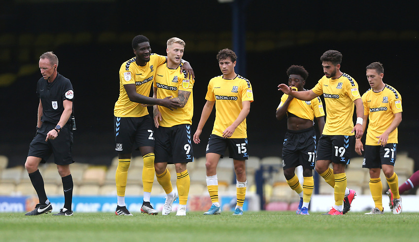 Southend United's Stephen Humphrys is congratulated after scoring his side's first goal<br /> <br /> Photographer Rob Newell/CameraSport<br /> <br /> EFL Trophy Southern Section Group A - Southend United v West Ham United U21 - Tuesday 8th September 2020 - Roots Hall - Southend-on-Sea<br />  <br /> World Copyright © 2020 CameraSport. All rights reserved. 43 Linden Ave. Countesthorpe. Leicester. England. LE8 5PG - Tel: +44 (0) 116 277 4147 - admin@camerasport.com - www.camerasport.com