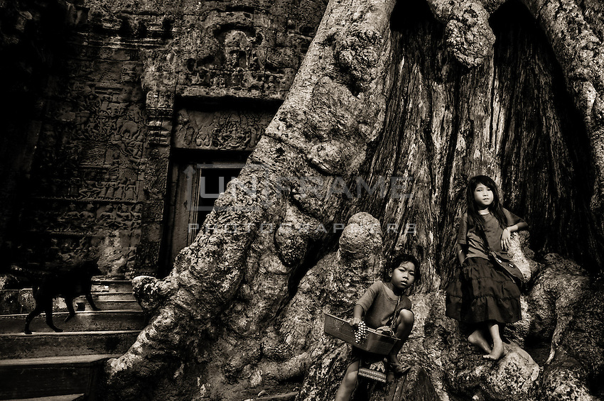 UNESCO World Heritage Site,  Ankgor wat temples and portraits of local children on the roots of the secular trees grown in the monumental area.   Seam Reap, Cambodia.