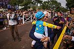 June 27, 2015: Triple Crown winner American Pharoah parades at Santa Anita Park in Arcadia, California. Zoe Metz/ESW/CSM