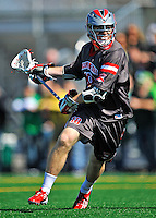 17 March 2012: Sacred Heart University Pioneer Midfielder Shane Foley, a Junior from South Brunswick, NH, in action against the University of Vermont Catamounts at Virtue Field in Burlington, Vermont. The visiting Pioneers rallied to tie the score at 11 with five unanswered goals, dominating the 4th period. However the Cats scored with only 10 seconds remaining in the game to defeat the Pioneers 12-11 in their non-conference matchup. Mandatory Credit: Ed Wolfstein Photo