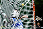 GER - Hannover, Germany, May 30: During the Women Lacrosse Playoffs 2015 match between Muenster Mohawks (blue) and HTHC Hamburg (black) on May 30, 2015 at Deutscher Hockey-Club Hannover e.V. in Hannover, Germany. Final score 9:20. (Photo by Dirk Markgraf / www.265-images.com) *** Local caption *** Antonia Grabe #18 of HTHC Hamburg