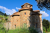 The exterior of the Byzantine Evangelistria's Church. Mystras ,  Sparta, the Peloponnese, Greece. A UNESCO World Heritage Site