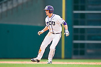 Cody Jones #1 of the Texas Christian Horned Frogs takes his lead off of second base against the Sam Houston State Bearkats at Minute Maid Park on February 28, 2014 in Houston, Texas.  The Bearkats defeated the Horned Frogs 9-4.  (Brian Westerholt/Four Seam Images)