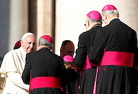 Papa Francesco saluta alcuni vescovi al termine dell'udienza generale del mercoledi' in Piazza San Pietro, Citta' del Vaticano, 17 dicembre 2014.<br /> Pope Francis greets some bishops at the end of his weekly general audience in St. Peter's Square at the Vatican, 17 December 2014.<br /> UPDATE IMAGES PRESS/Riccardo De Luca<br /> <br /> STRICTLY ONLY FOR EDITORIAL USE