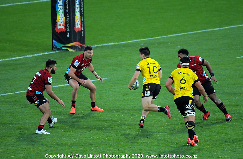 Jackson Garden-Bachop in action during the Super Rugby Aotearoa match between the Hurricanes and Crusaders at Sky Stadium in Wellington, New Zealand on Saturday, 21 June 2020. Photo: Dave Lintott / lintottphoto.co.nz