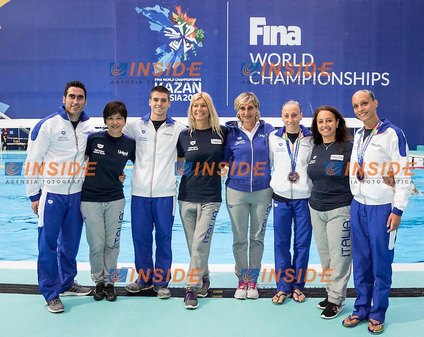 Team Italy<br /> From L to R<br /> CAPACCHIONE Alessandro<br /> TOMOMATSU Yumiko<br /> MINISINI Giorgio<br /> BURLANDO Giovanna<br /> GIANLOMBARDO Patrizia<br /> FLAMINI Manila<br /> FARINELLI Roberta<br /> PERUPATO Mariangela<br /> Day9 01/87/2015<br /> XVI FINA World Championships Aquatics<br /> Synchro<br /> Kazan Tatarstan RUS July 24 - Aug. 9 2015 <br /> Photo Giorgio Scala/Deepbluemedia/Insidefoto